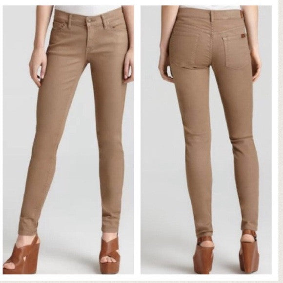 7 for all mankind Brown shimmer crop skinny