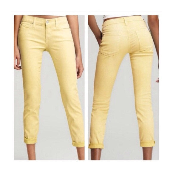 7 for all mankind bright yellow shimmer cropped