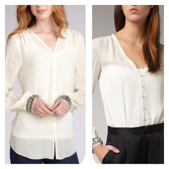 Elizabeth and James Chantal Beaded Silk Blouse