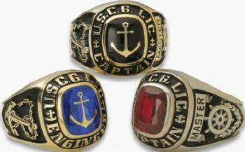 10K Gold USCG Licensed Captain's Class Ring