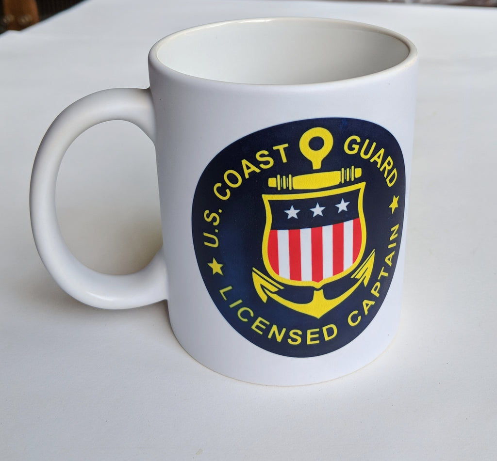 Coffee mug with United States Coast Guard Licensed Captain logo