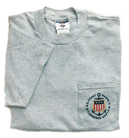 USCG Licensed Captain T-Shirt with Short Sleeves and Pocket