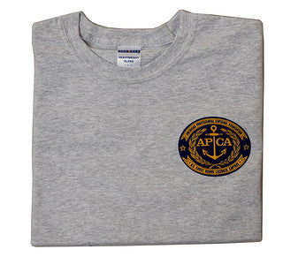 T-shirt with navy and gold American Professional Captain's Association logo