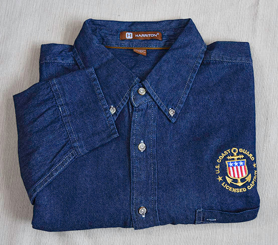 USCG Licensed Captain Long-Sleeve Shirt - Dark Denim (CLEARANCE SALE ITEM!)