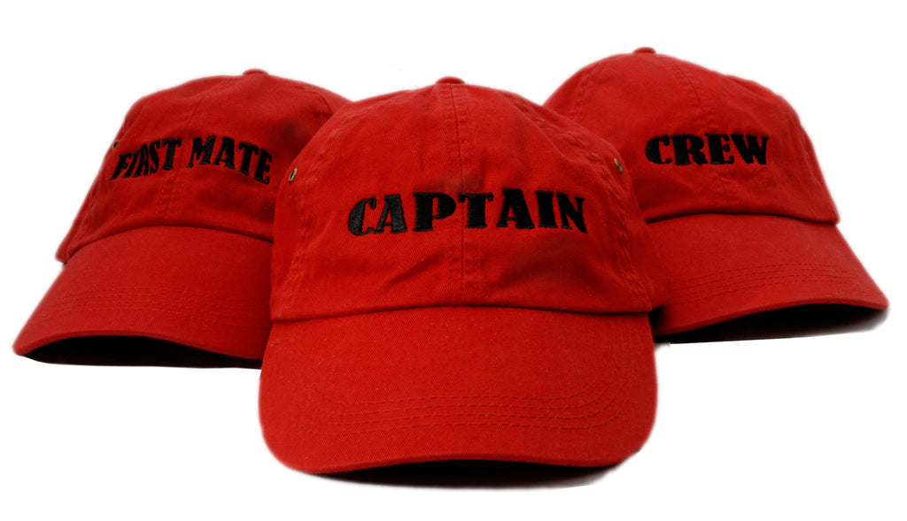 Red Captain, First Mate and Crew Hats