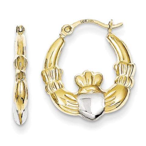 10 Karat Yellow Gold Claddagh Hoops