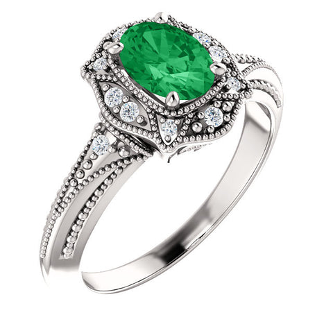 Vintage Style Oval Emerald & Diamond Ring