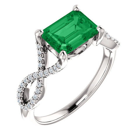 Contemporary Emerald and Diamond Ring