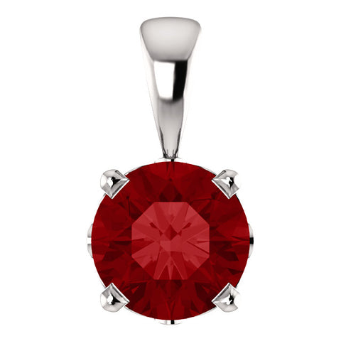 14K White Gold Lab Created Ruby Solitaire Pendant