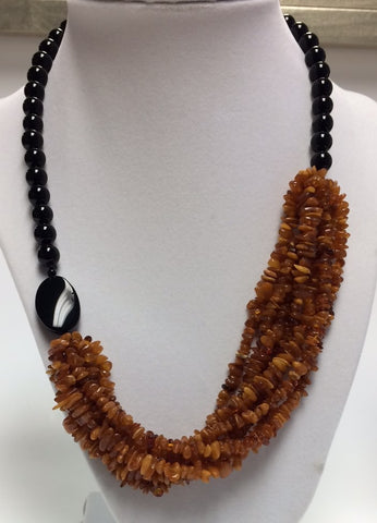Black Onyx & Amber Necklace