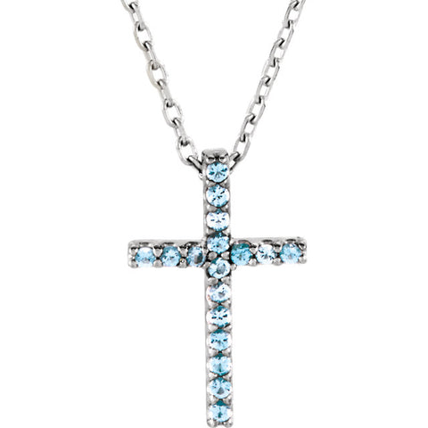 14 Karat White Gold Petite Aquamarine Cross & Chain