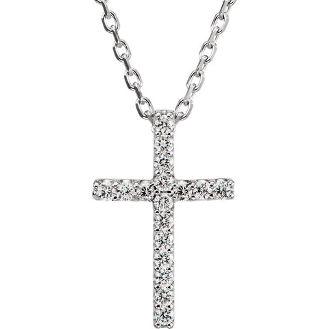 14 Karat White Gold Petite Diamond Cross & Chain