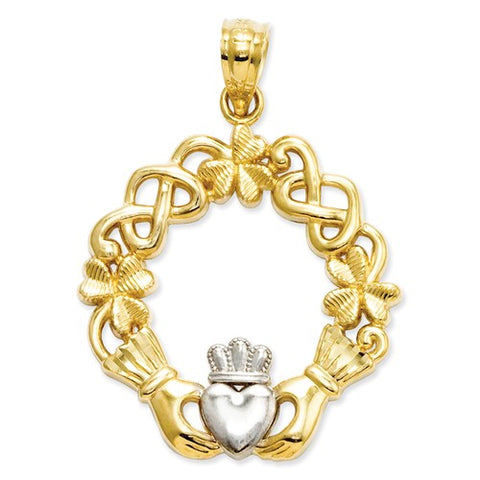14 Karat Two Tone Gold Claddagh Pendant