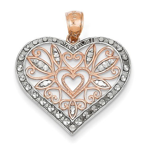 14 Karat Rose Gold Diamond Cut Heart Pendant