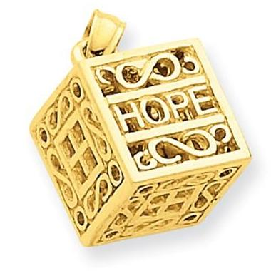 14 Karat Yellow Gold Prayer Box Pendant