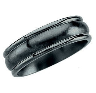 Black Titanium Grooved Gents Wedding Band
