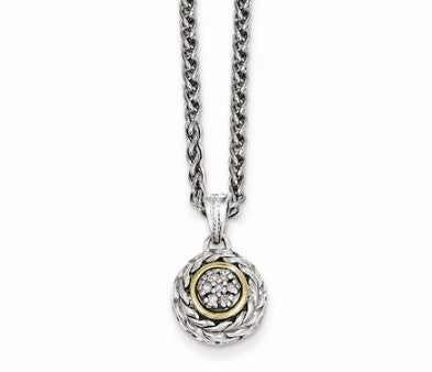 Sterling Silver with 14K Yellow Gold Diamond Pendant
