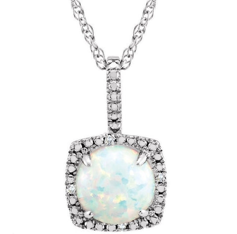Sterling Silver October Birthstone Halo Necklace