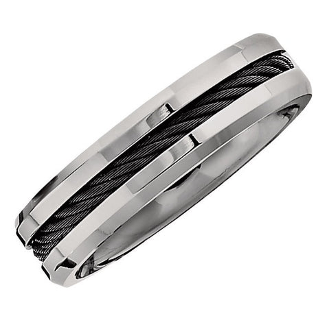 Gents Titanium with Black Cable Wedding Band