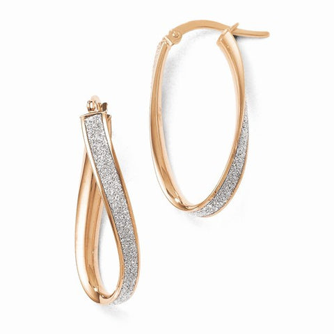 14 Karat Rose Gold Glitter Twist Hoop Earrings
