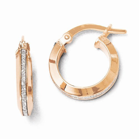 14 Karat Rose Gold Glimmer Hoops