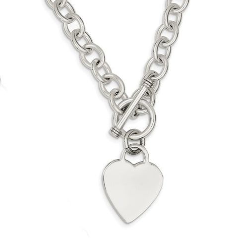 Sterling Silver Toggle Necklace with Heart