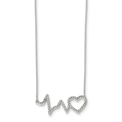 Sterling Silver Cubic Zirconia Heartbeat & Heart Necklace