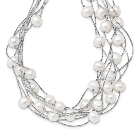 Multi Strand White Cultured Freshwater Pearl Necklace