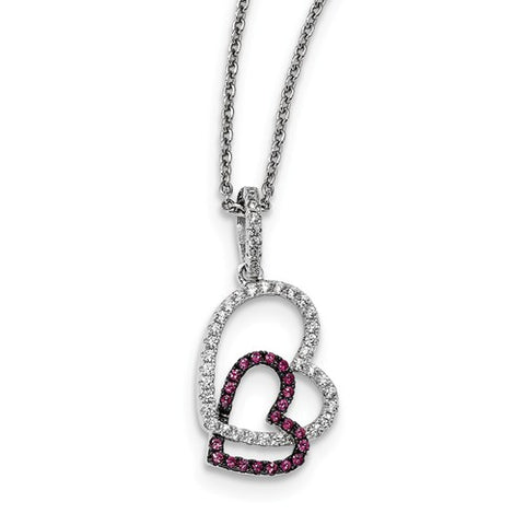 Sterling Silver Double CZ Heart Necklace