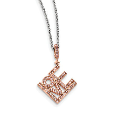 Love Necklace in Sterling Silver with Rose Gold Plate