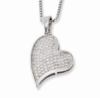 Sterling Silver Pave' Heart Necklace