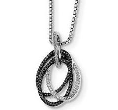 Black & White Diamond Triple Oval Pendant