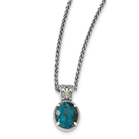 Sterling Silver with 14kt London Blue Topaz Necklace