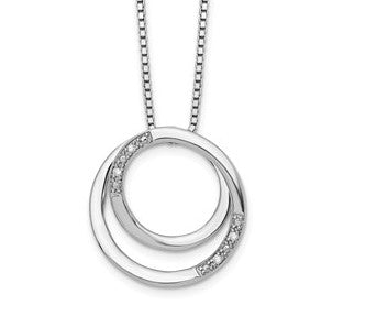 Sterling Silver Swirl Diamond Necklace