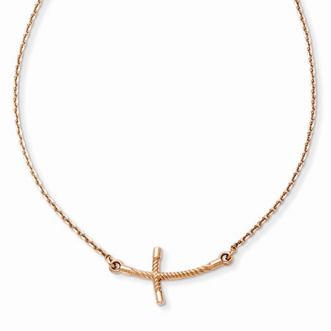 14 Karat Rose Gold Small Sideways Cross Necklace