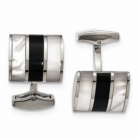 Stainless Steel Black Onyx & MOP Cuff Links