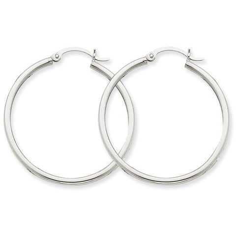 14 Karat White Gold 2mm 1 3/8 inch Hoop Earrings