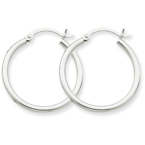 14 Karat White Gold 2mm 1 inch Hoop Earrings