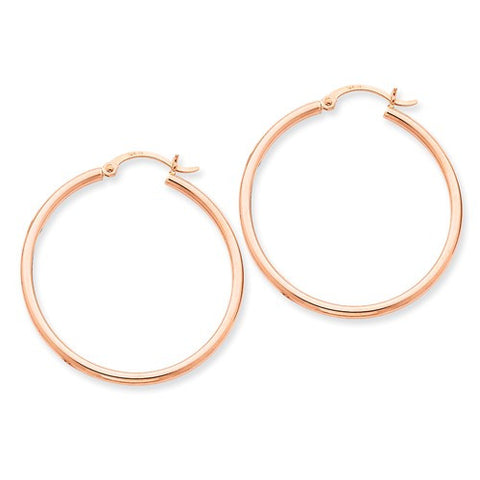 14 Karat Rose Gold 2mm 1 3/8 inch Hoop Earrings