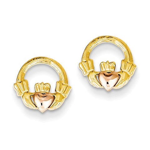 14 Karat Two Tone Claddagh Earrings