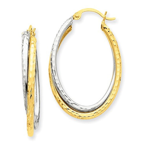 14 Karat Two Tone Double Twist Oval Hoop Earrings