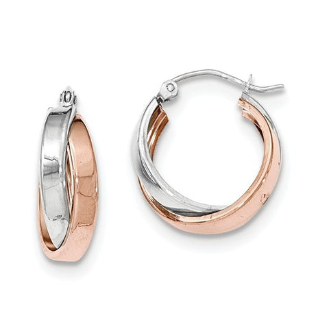 14 Karat Two Tone Gold Double Twist Round Hoop Earrings