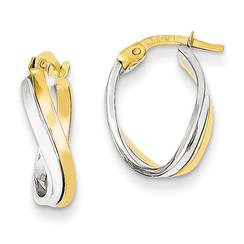 14 Karat Two Tone Double Swirl Hoop Earrings