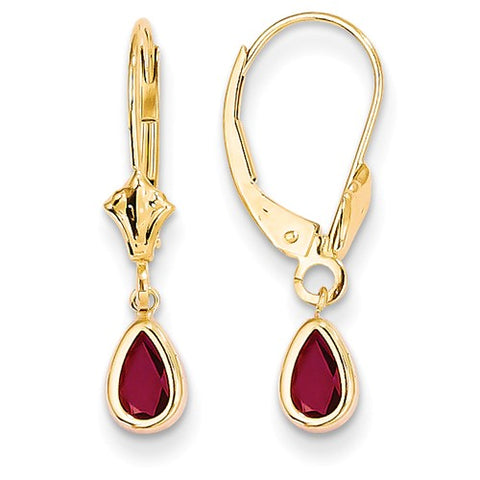 14K Yellow Gold Ruby Leverback Earrings