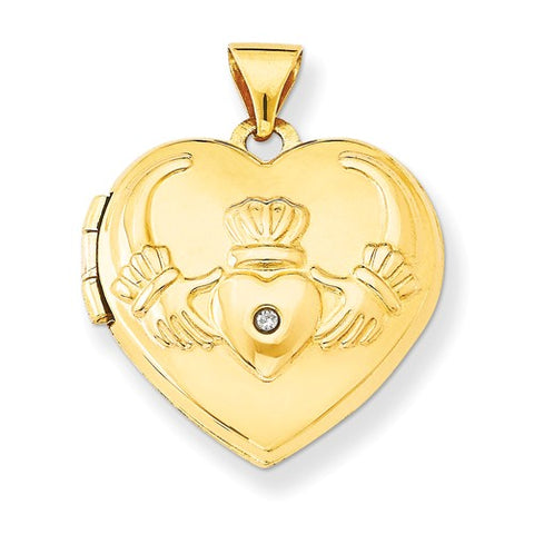 14 Karat Yellow Gold Claddagh Locket