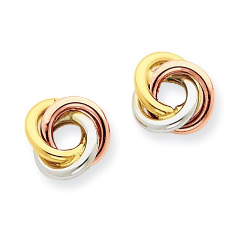 14 Karat Tri-Color Gold Knot Earrings