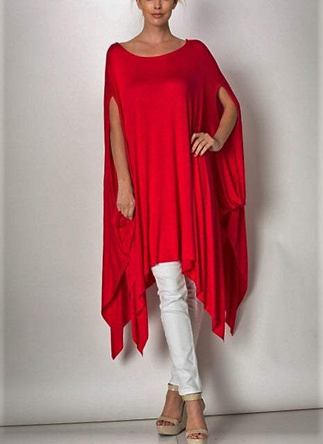 RED OVERSIZED PONCHO DRAPED T SHIRT