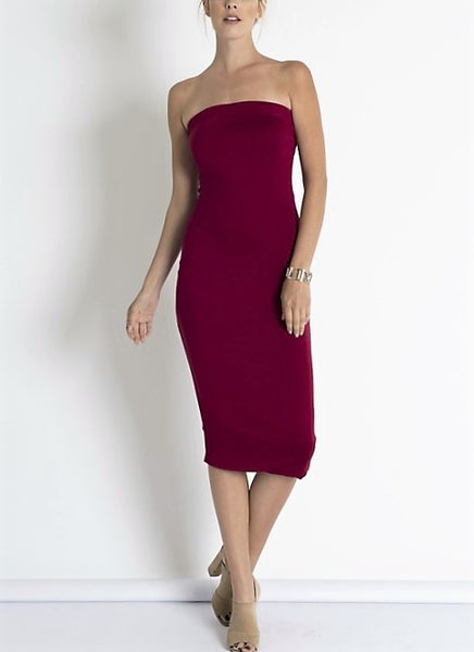 Burgundy Tube Bodycon Mini Dress