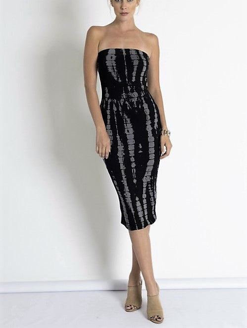 Tie-Dye Bamboo Print Bodycon Black and Grey Tube Dress.