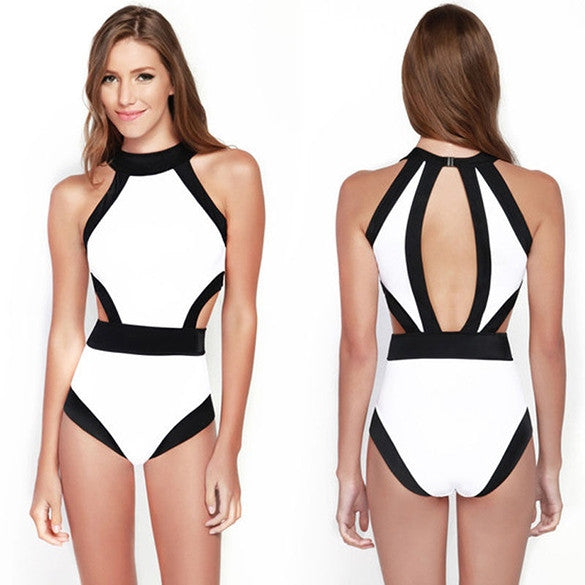 Sexy white and black monokini